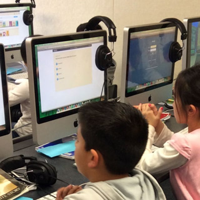 Students use our computer lab to finish up some Accelerated Reading quizzes!