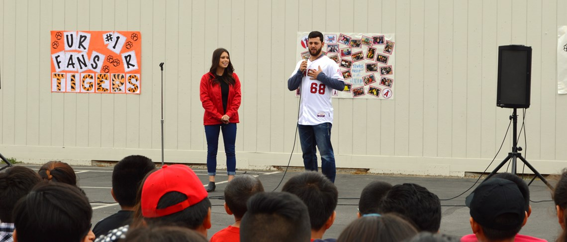Newhope students enjoy a visit from Angels Baseball pitcher Cam Bredosian!